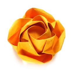 在川崎玫瑰上进行改造 美丽纸玫瑰花手工折法