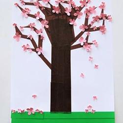 幼儿手工贴画教程:卡纸和胶带贴美丽的樱花树