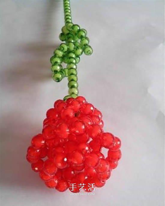 情人节串珠玫瑰花DIY 用串珠做红玫瑰的方法 2图片