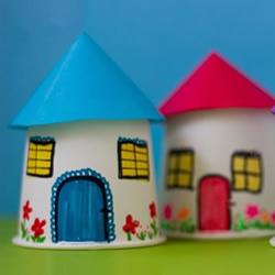 纸杯房子的做法图片 手工幼儿园小房子的制作