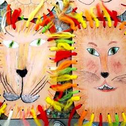 儿童狮子面具的做法 卡纸制作动物面具图解