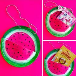 纸盘手工制作西瓜包包 简单又可爱!