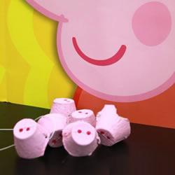 送你一个小猪佩奇鼻子!鸡蛋托做猪鼻子的方法