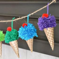 毛线手工制作冰激凌 DIY充满活力的夏日挂饰