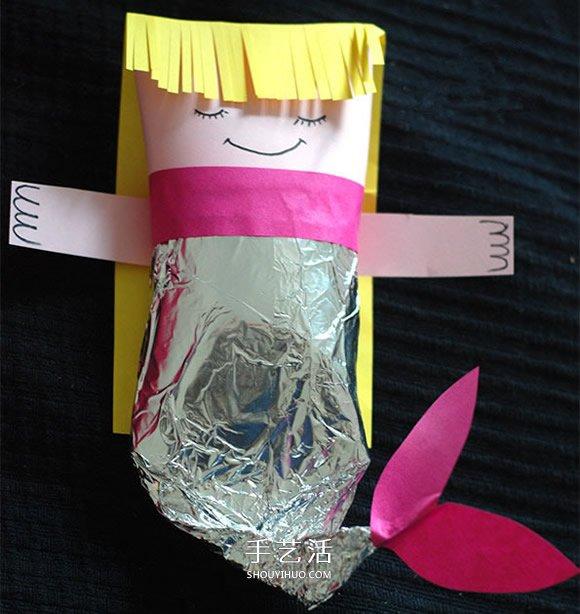 幼儿手工制作美人鱼 卫生纸筒做美人鱼的方法_手艺活网