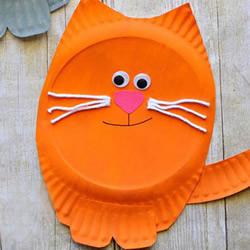 一次性纸盘做小猫 幼儿园手工圆脸猫咪制作