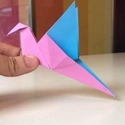 简单又好玩!会动的拍翼鸟手工折纸方法图解