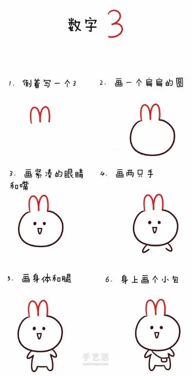 数字简笔画动物1到10 可爱数字简笔画图片大全图片