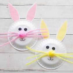 幼儿园手工做小白兔 用纸盘制作兔子的方法图片