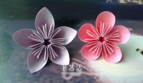 折纸大全 折纸花  超简单樱花的折纸,先折花瓣,再把5个花瓣粘贴在一起图片