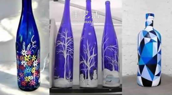 彩绘酒瓶创意手工图片 丙烯手绘玻璃瓶diy图片