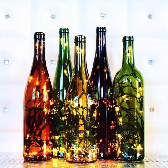 彩绘酒瓶创意手工图片 丙烯手绘玻璃瓶diy(2)图片