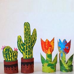 卫生纸筒手工制作植物 简单花朵,多肉的做法