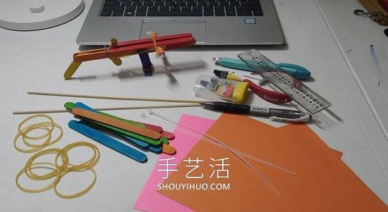 雪糕棍手工制作纸飞机橡皮筋弹射器的做法 -  www.shouyihuo.com