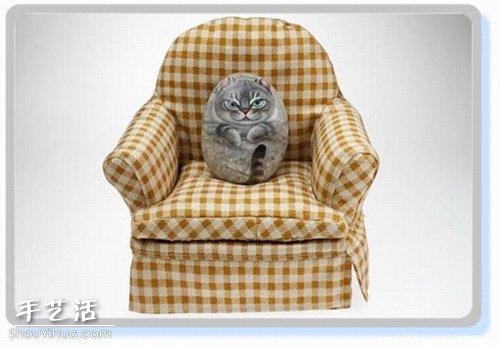 貓咪創意石繪藝術作品