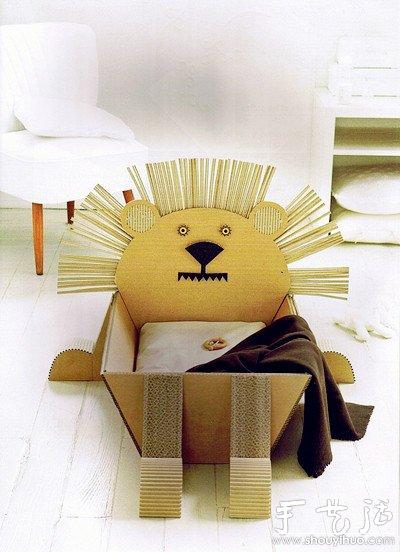瓦楞纸板手工DIY创意动物收纳箱 -  www.shouyihuo.com