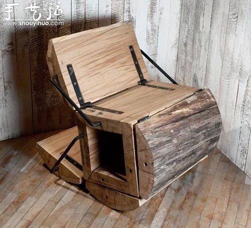 废木料diy折叠座椅 手艺活网