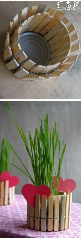 菜谱 设计_木夹子和小铁罐DIY制作花盆烛台的方法_手艺活网