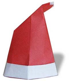 紅色聖誕帽子摺紙方法