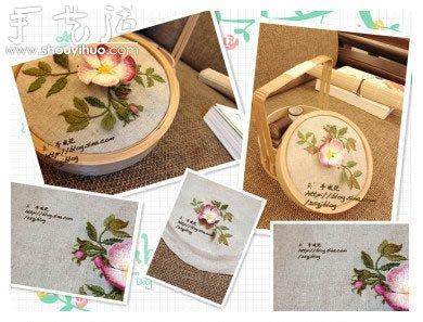 手工刺繡製作古典提籃蓋子的方法
