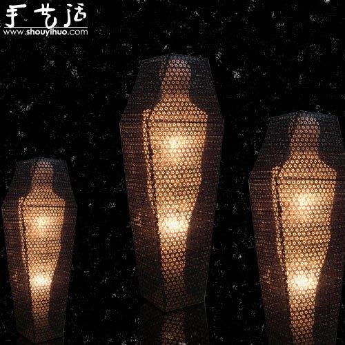 紙張製作的兵馬俑和木乃伊燈飾