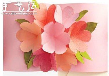 手工幼儿园卡纸花束_立体可展开的贺卡制作教程_手艺活网
