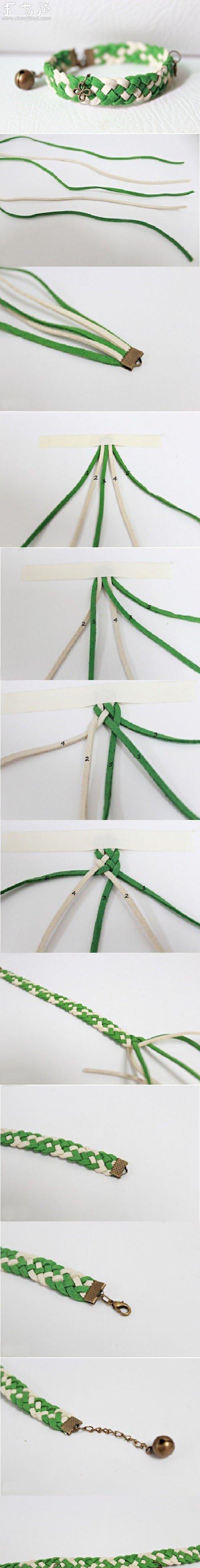 清新綠色手鏈的編織教程