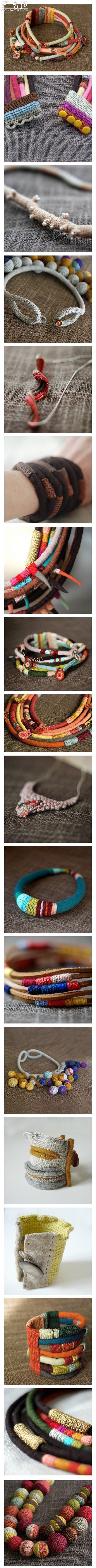 鉤針製作的精美手鏈和項鏈作品欣賞