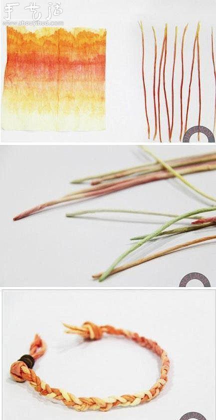 褶皺紙製作漂亮手鏈的編織教程