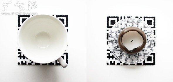 黑白兩色塑膠珠子DIY二維碼杯墊教程