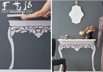 手繪搭配擱板DIY歐式桌子的方法