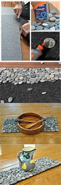 廢舊毯子和鵝卵石手工DIY地板墊子的教程