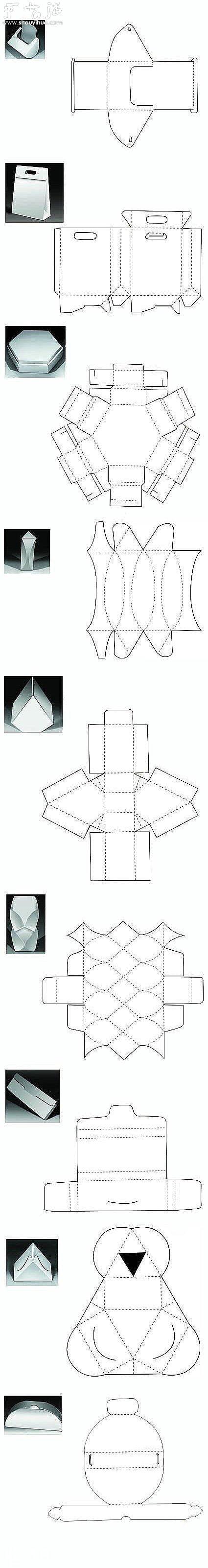 紙質包裝盒的折法線框圖