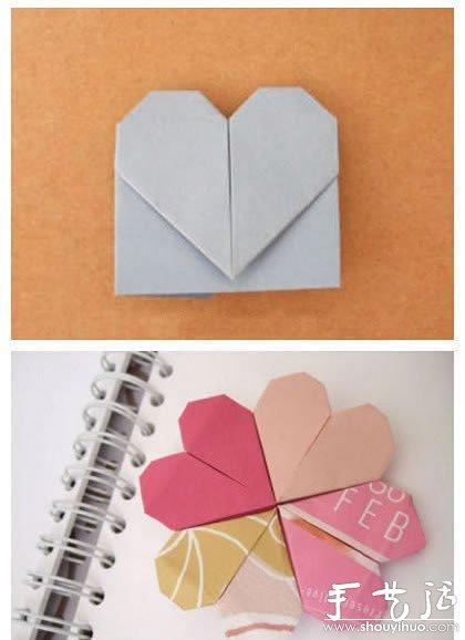 双爱心的折法_折纸心形书签的教程_手艺活网