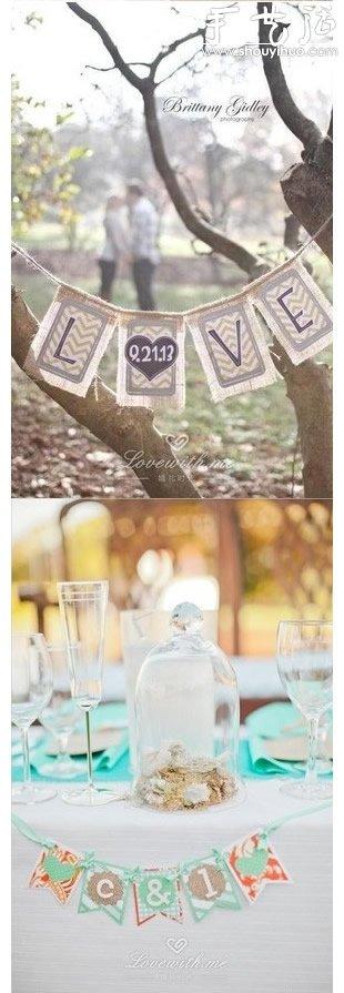 DIY婚禮小旗幟作為裝飾橫幅