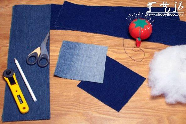 廢舊牛仔褲手工改造拼布坐墊或靠墊的教程