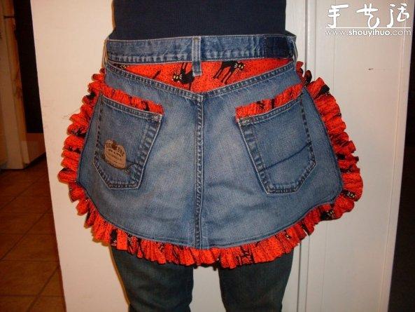舊牛仔褲廢物利用DIY圍裙的教程