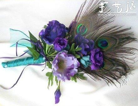 孔雀羽毛手工製作的新郎胸花