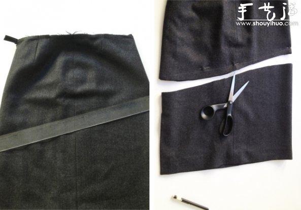 毛呢裙拼接皮革DIY時尚半裙的教程