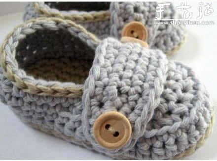 超萌的毛線編織鞋子