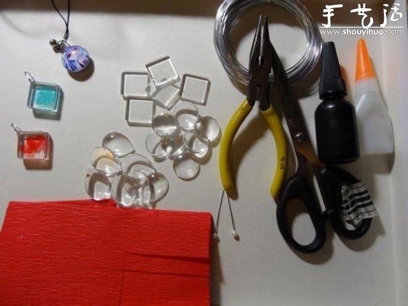 玻璃片DIY小清新吊墜/掛件的教程