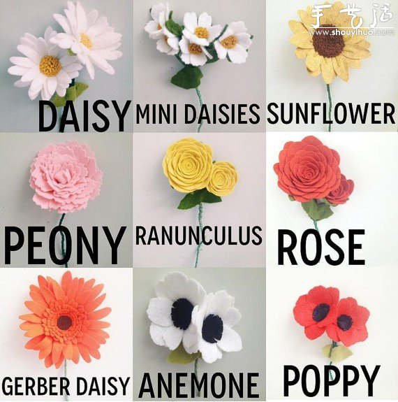 不織布製作的各種花朵