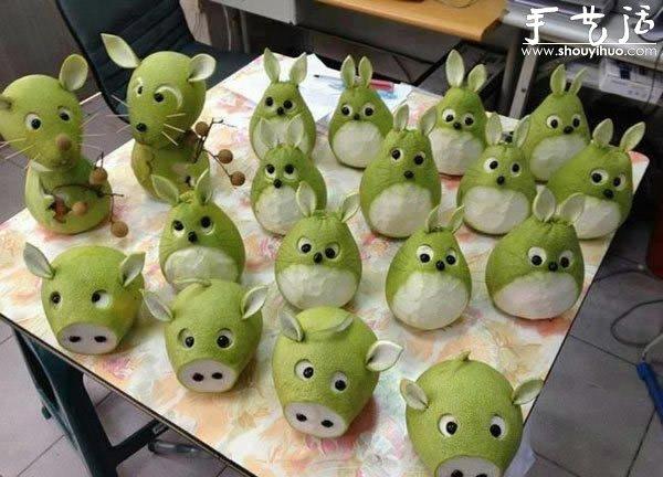 水果蔬菜创意制作_雪梨创意手工DIY可爱小动物_手艺活网