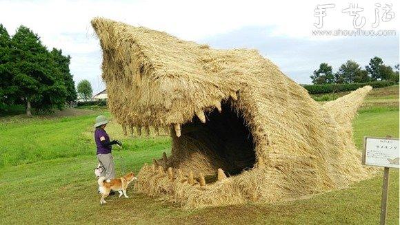 小麥秸稈創意DIY鯊魚小屋