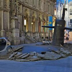 广告创意:米兰街道冒出俄罗斯潜艇