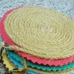 麻绳和不织布DIY森系杯垫
