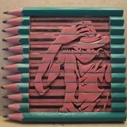 铅笔雕刻《海贼王》主人公路飞