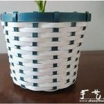 编织带手工编织花盆套的教程