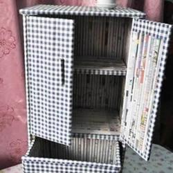 废旧报纸手工DIY储藏柜的教程