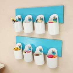 废弃塑料瓶和木板制作壁挂收纳的方法